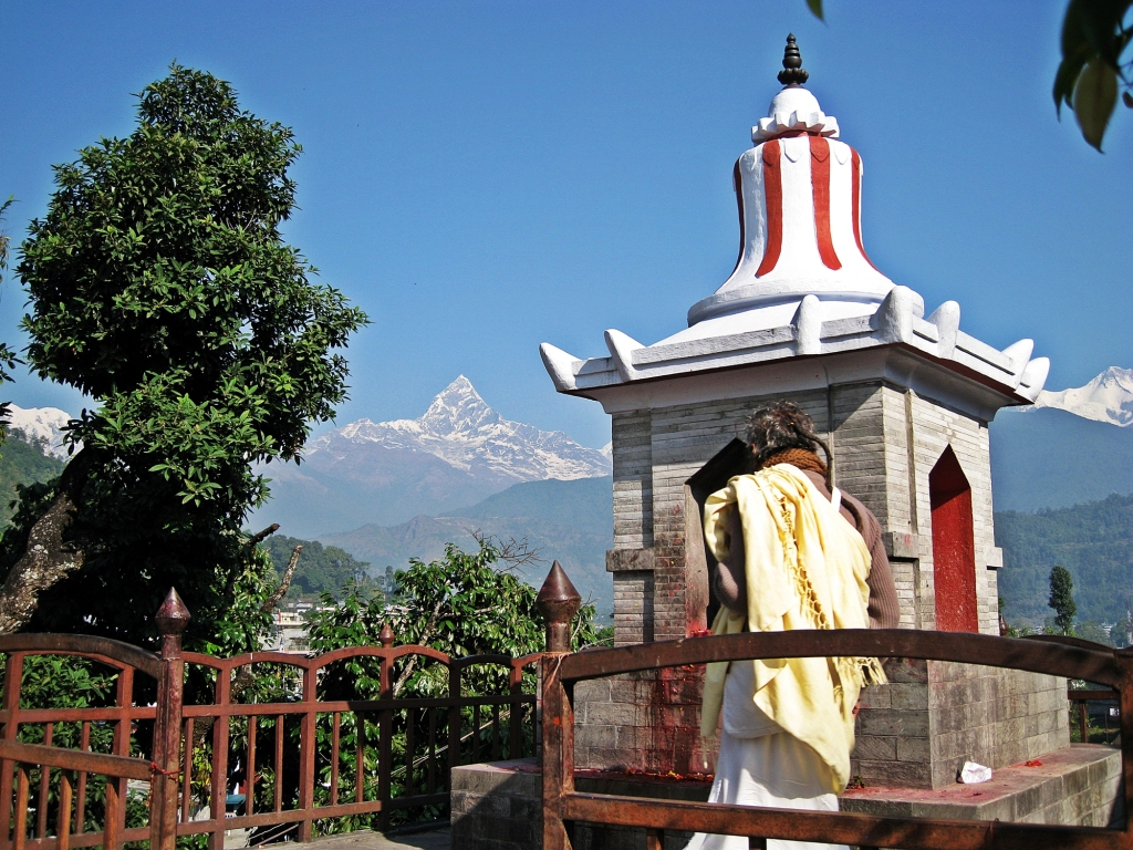 Machhapuchhare from temple in Pokhara