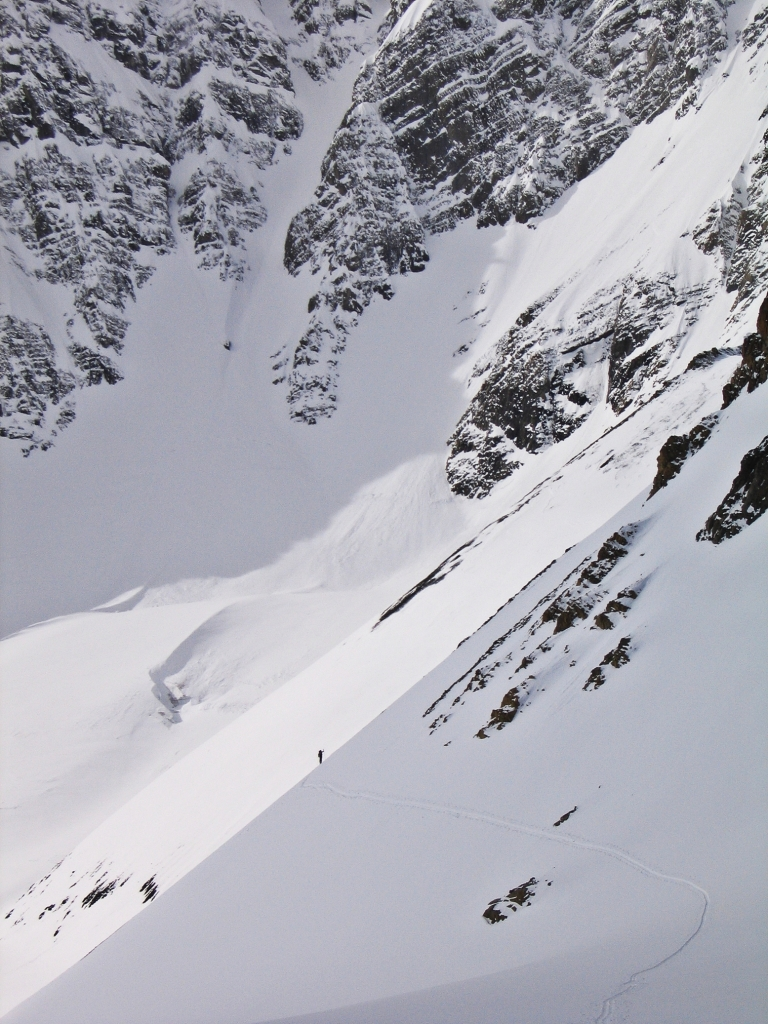 Skiing too high on the slope, Sir Douglas-Robertson Col, French-Robertson Traverse
