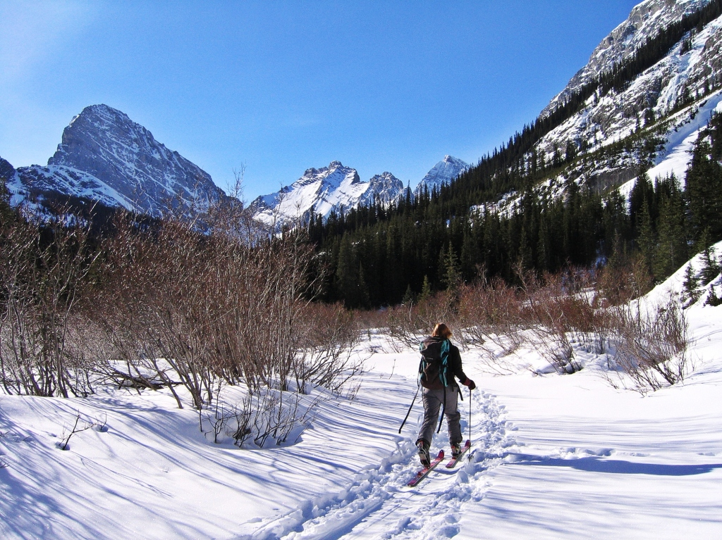 Skiing up French Creek, French-Robertson Traverse