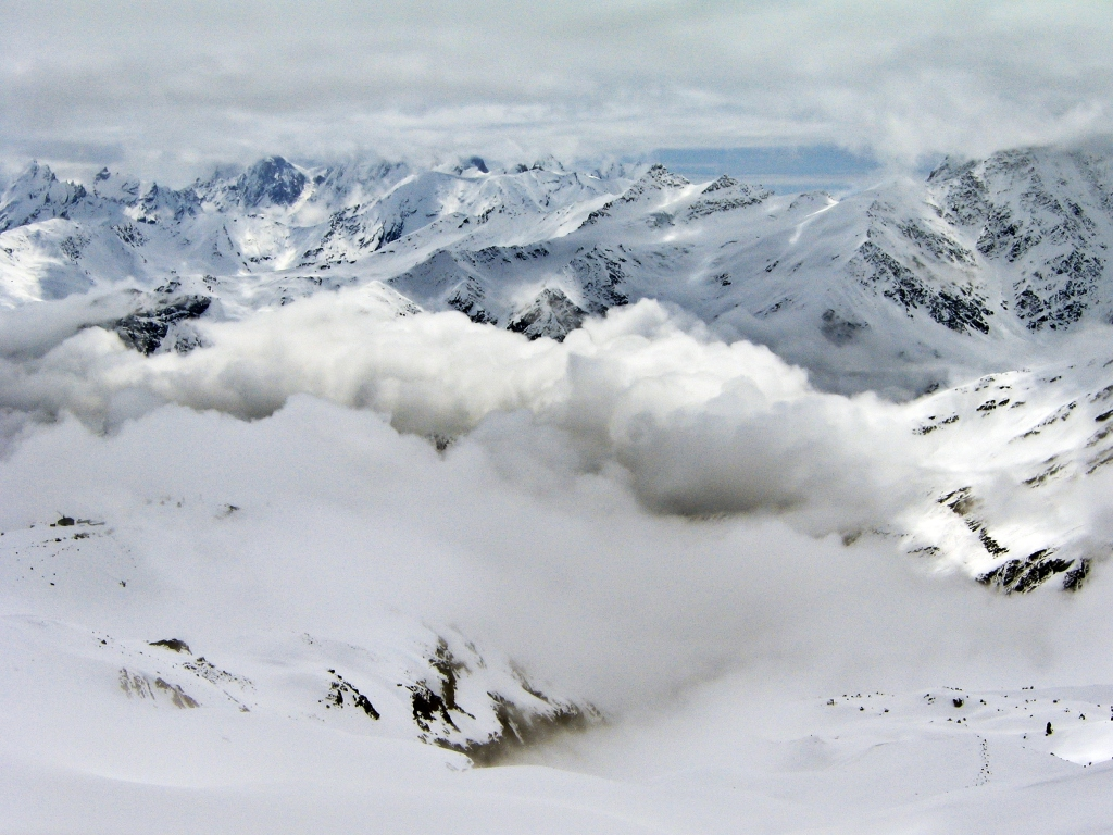 View from above Barrel Huts, Mount Elbrus climb