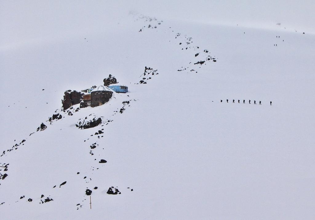 Climbers near Diesel Hut, Mount Elbrus climb