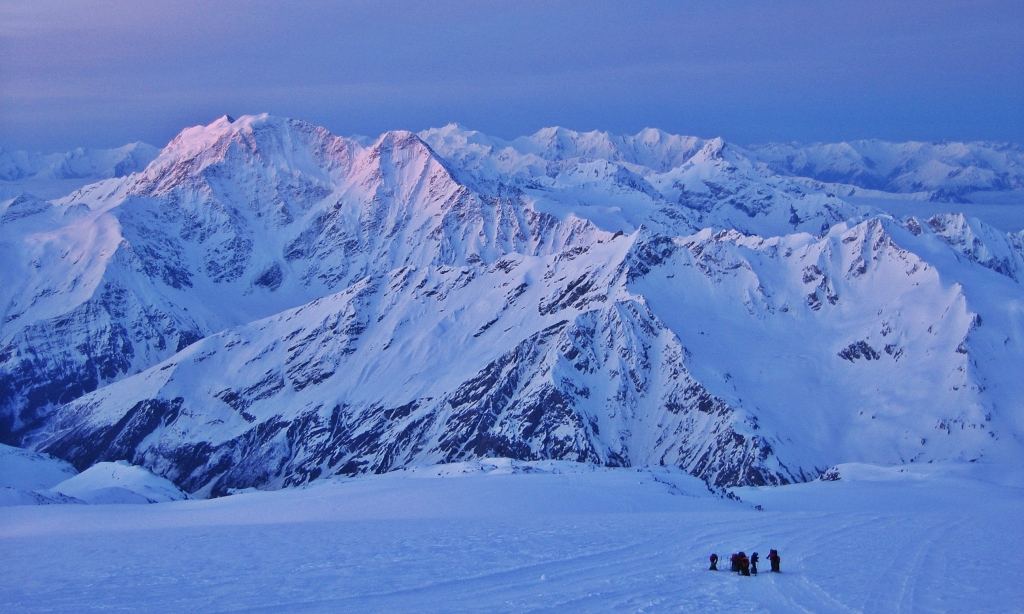 Sunrise on Mt. Donguzorun summit day, Mount Elbrus climb