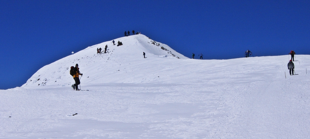 Looking up to the summit from the Saddle, Mount Elbrus