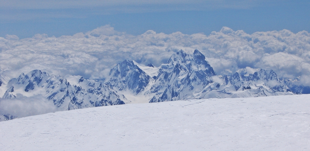 Mount Ushba from the summit of Mount Elbrus