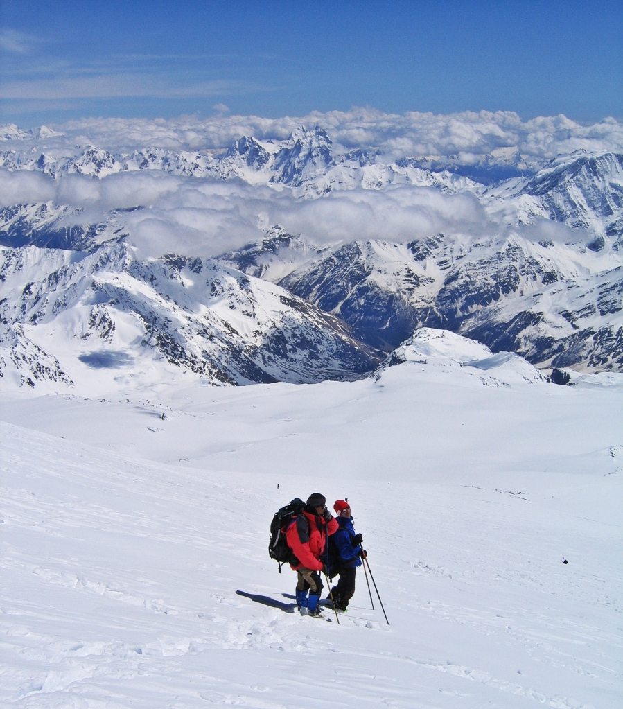 Below the summit, Mount Elbrus climb