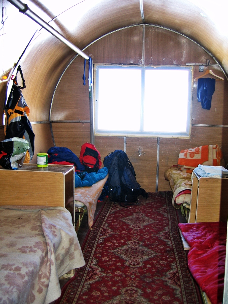 Inside Barrel Hut, Mount Elbrus climb