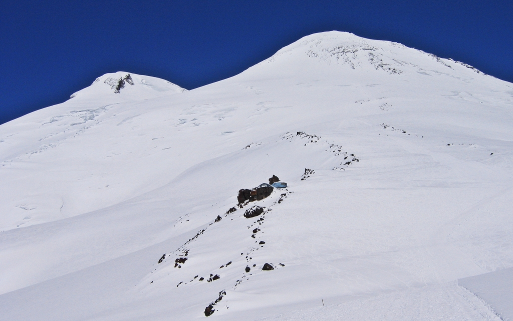 Looking back to the twin summits of Mount Elbrus