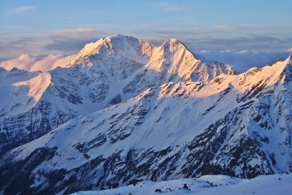 Sunset on Mount Donguzorun from Barrel Huts, Elbrus climb
