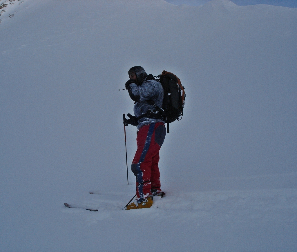 Cold day on Haig Glacier, French-Robertson Traverse
