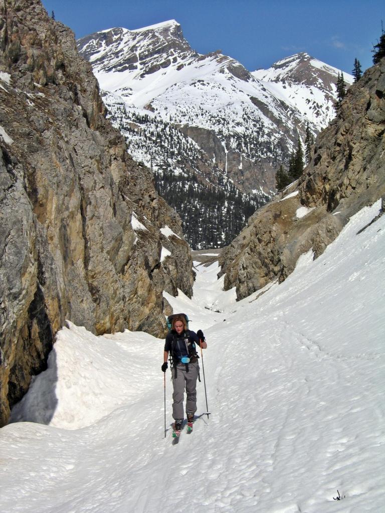 Skiing up Bow Canyon