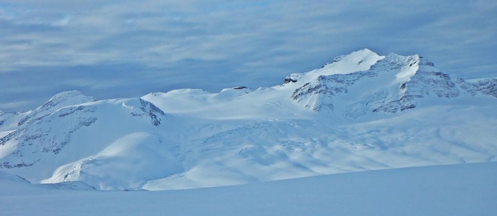 Looking toward Louise and Richard Guy Hut, Wapta Icefield