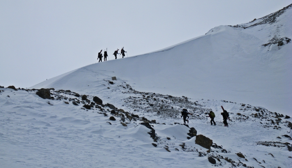 Crossing the moraine on the way to Peyto Hut