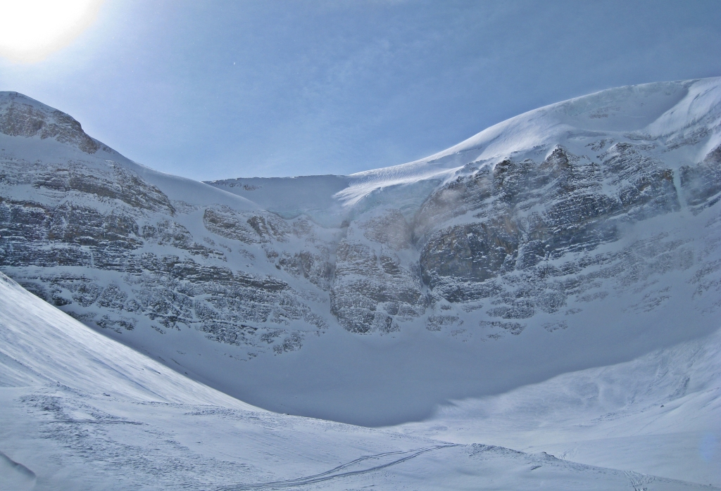 Headwall with icefall above Bow Hut approach