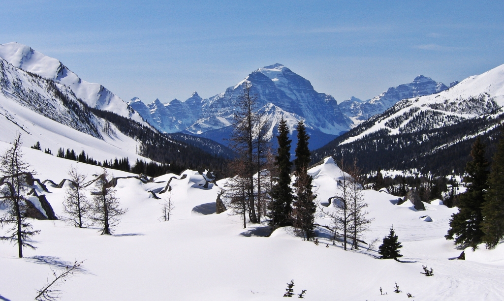 View of Mount Temple, backcountry skiing, Lake Louise, AB