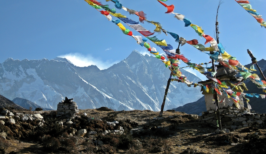 Nuptse and Everest's peak, view above Pangboche