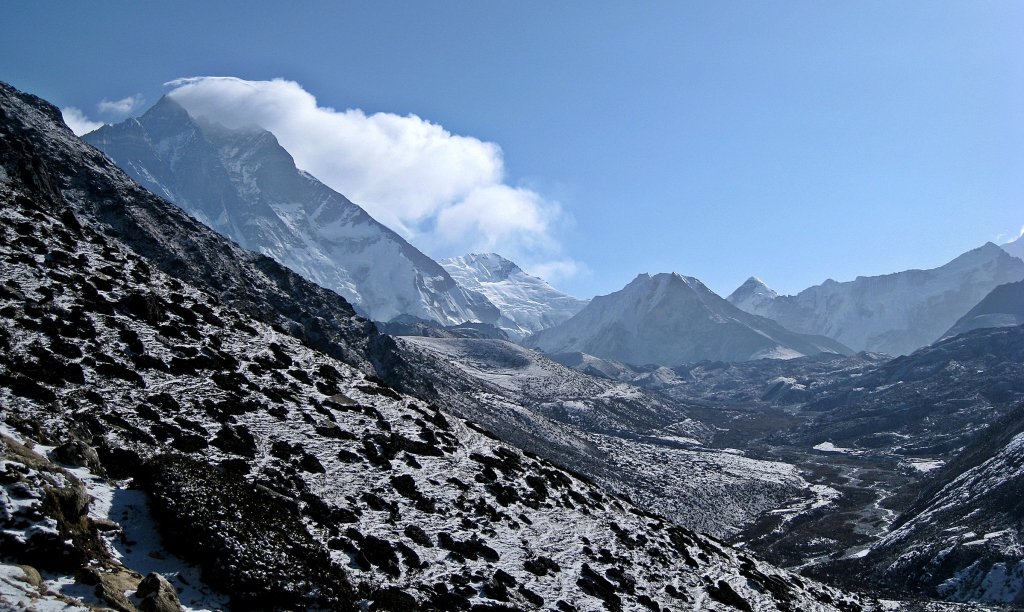 Island Peak beside Lhotse