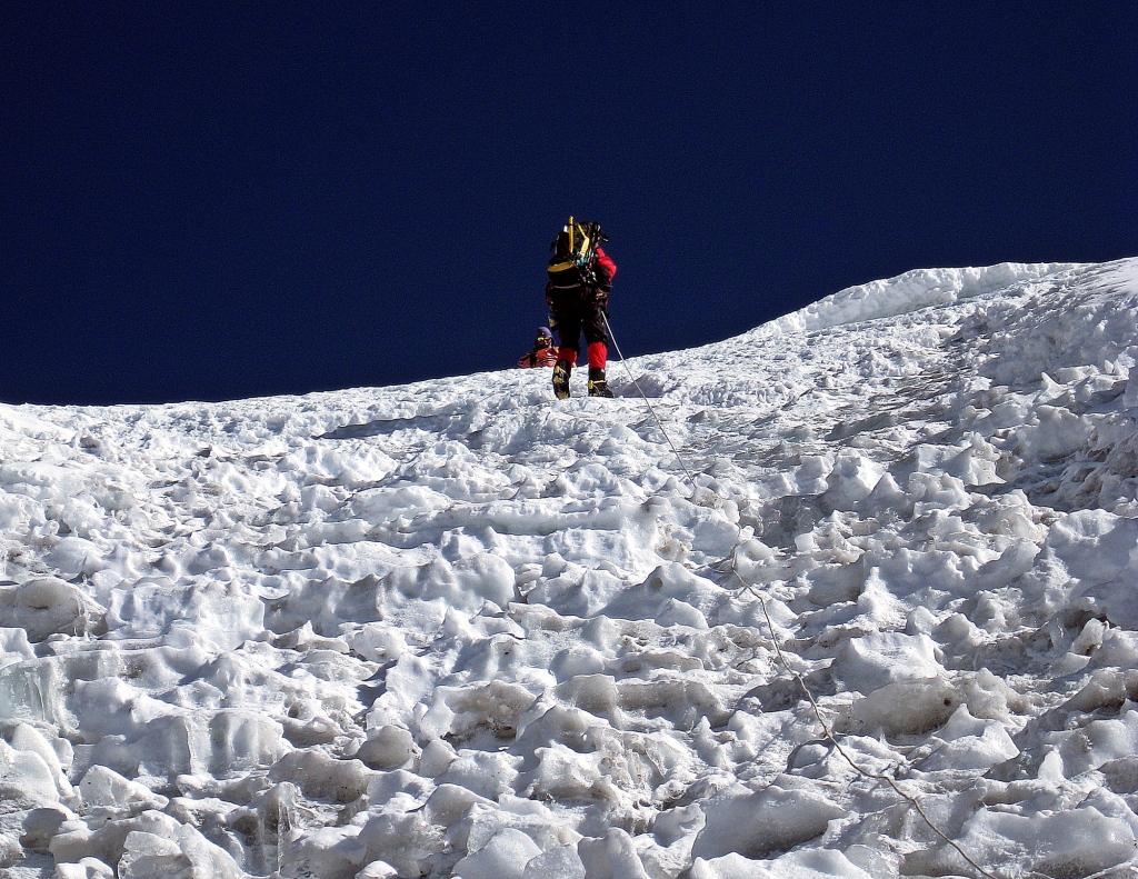 Headwall of small penitente-like formations, Island Peak