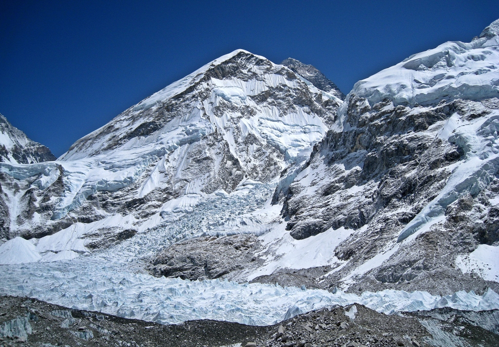 Everest Peak, centre, above Khumbu Icefall