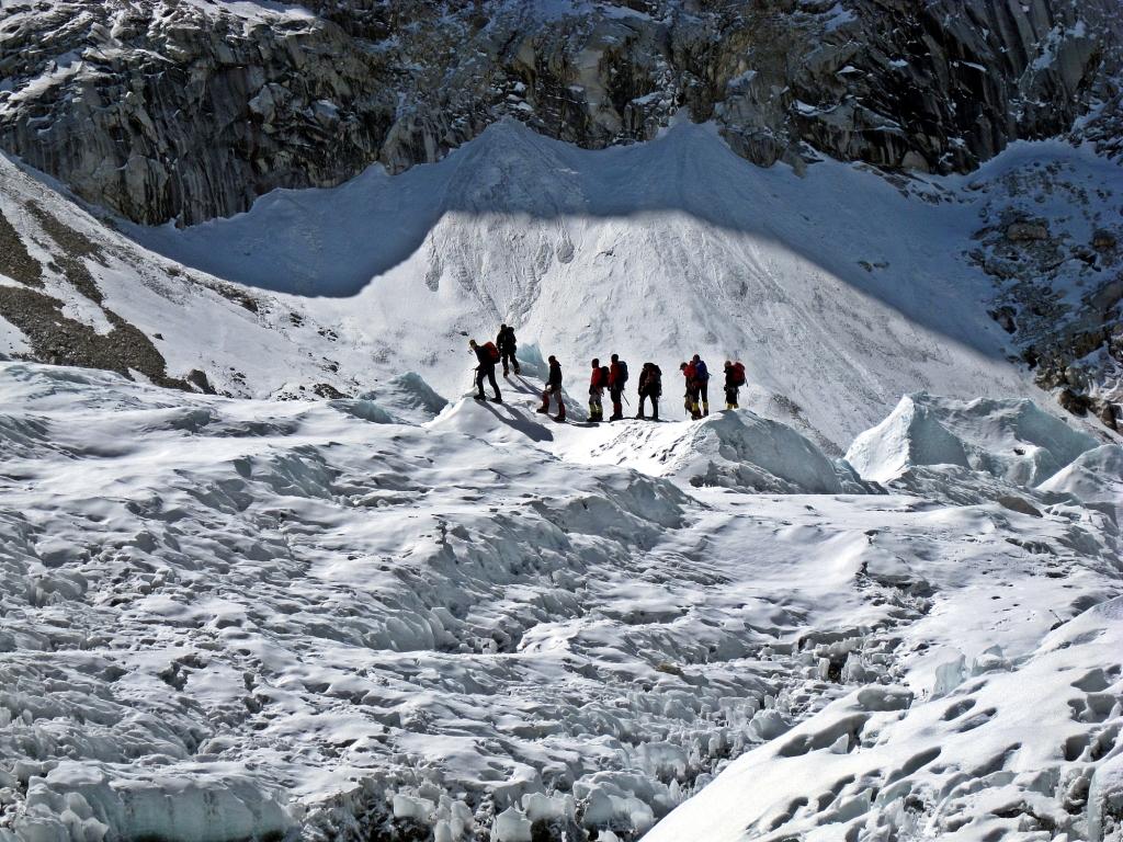 Group training on the glacier, Everest Basecamp