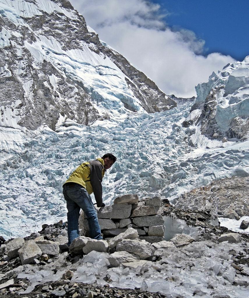 Ngima building altar for our puja, Everest Basecamp