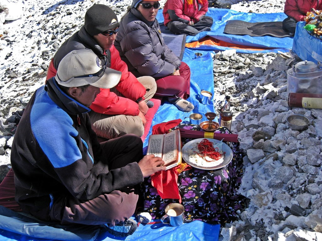 Lama perfoming a puja, Everest Basecamp