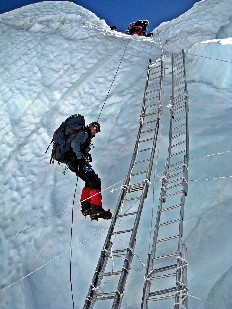 The ladder is for up traffic, rapel to get down, Khumbu Icefall