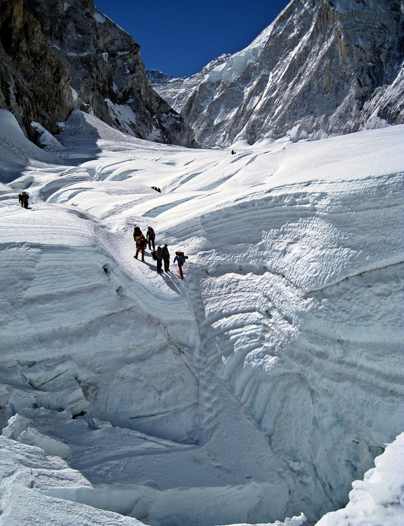 The end of Khumbu Icefall and beginning of Western Cwm