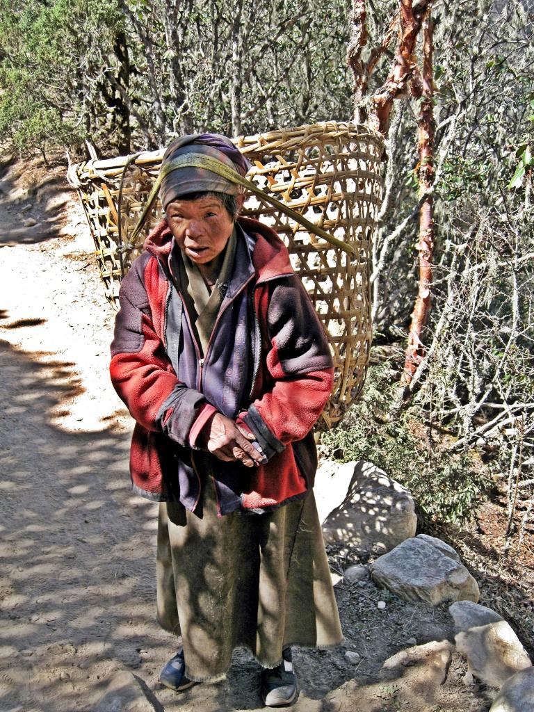 Sherpa lady running errands, Everest region