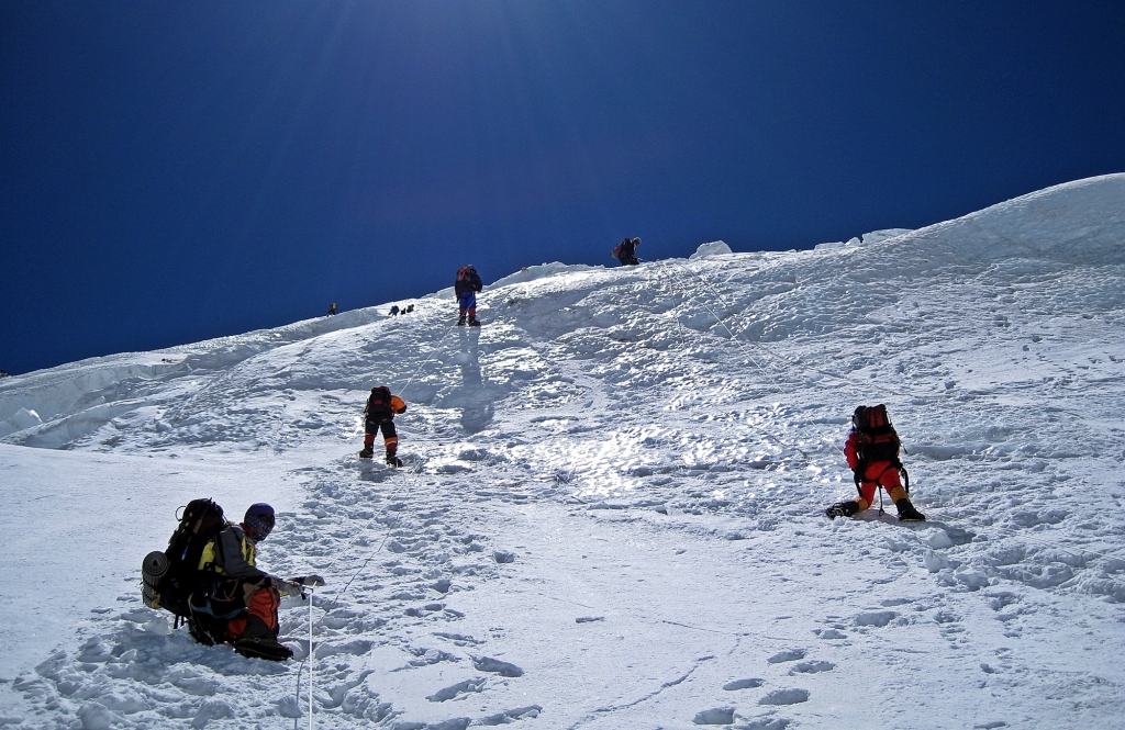Climbers on Lhotse Face