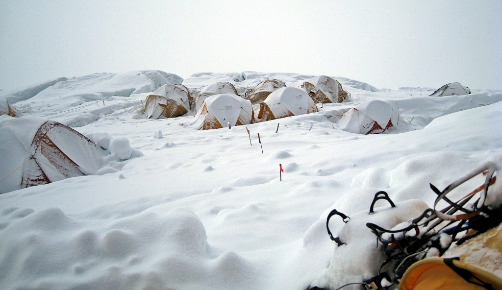 Camp III after the storm Everest climb