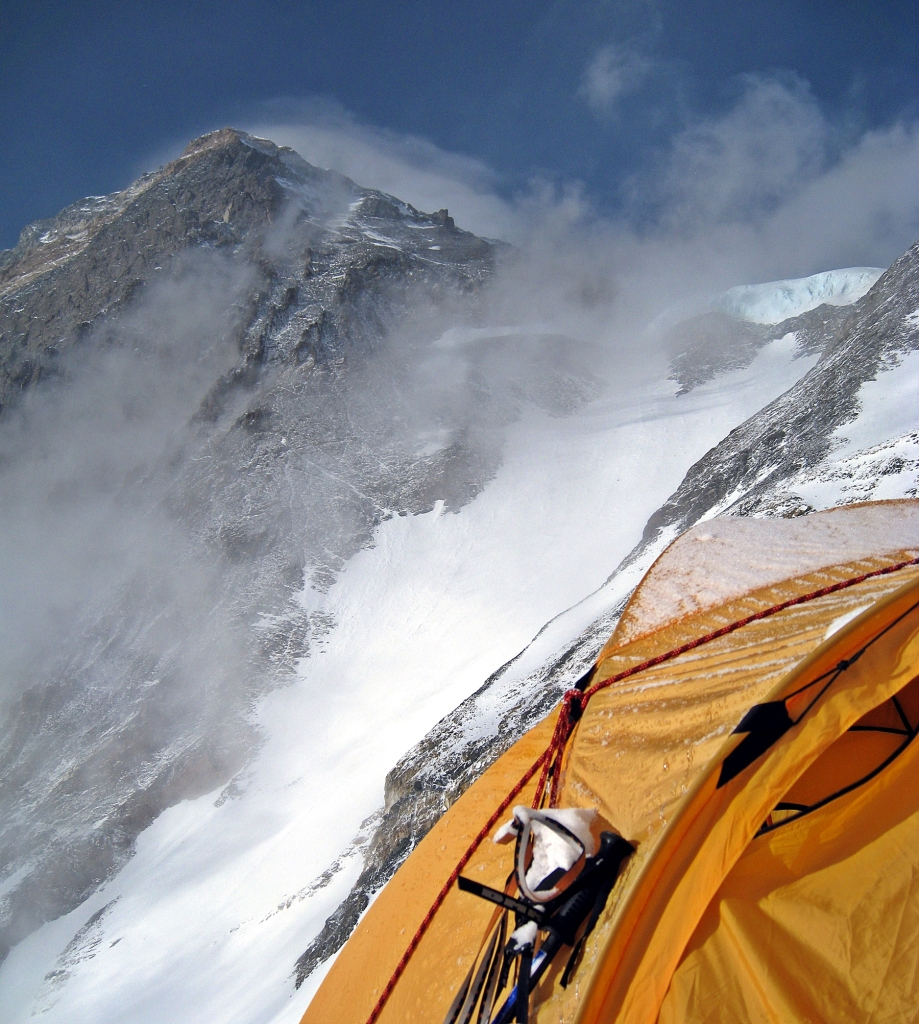 Everest summit and my tent, Camp III