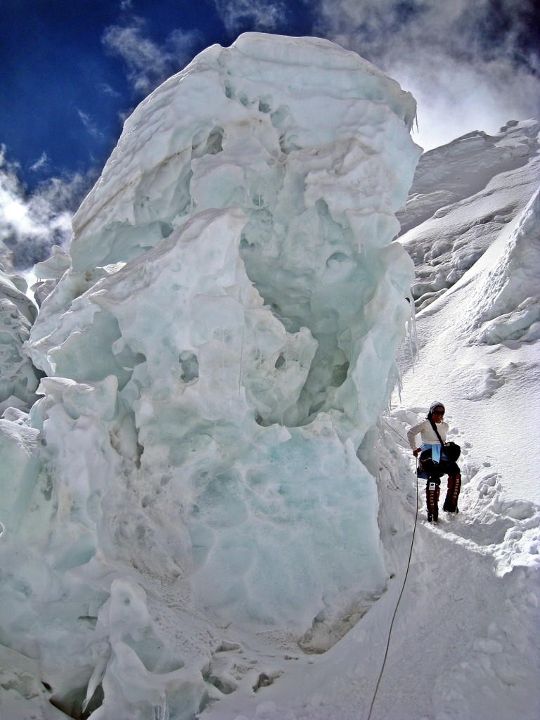 Cracked and leaning serac, Khumbu Icefall