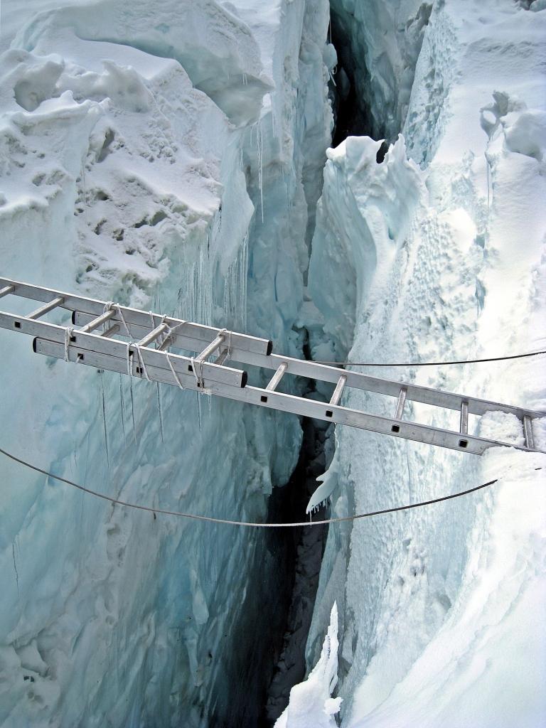 Ladder crossing a crevasse, Khumbu Icefall