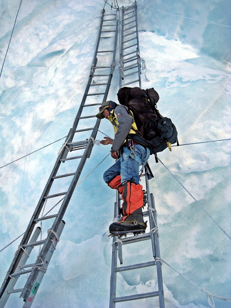 4 ladders strung together, Khumbu Icefall