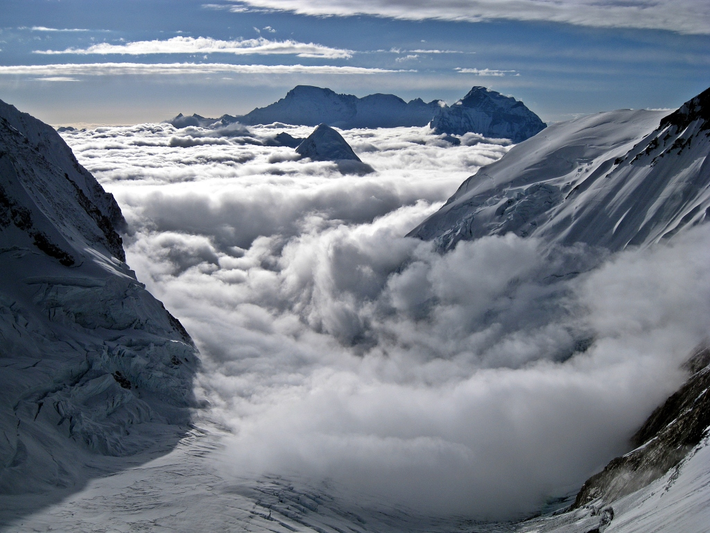 Cho Oyu and Pumori above the clouds from Camp III