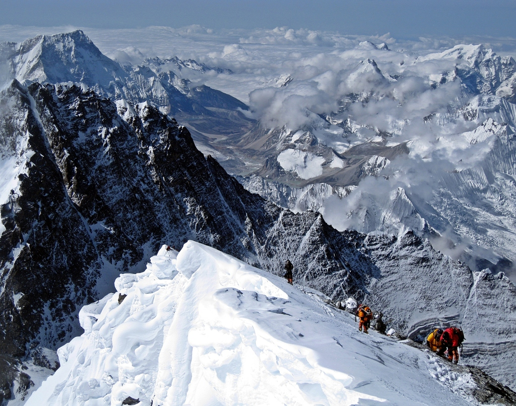 Climbers approaching Everest summit