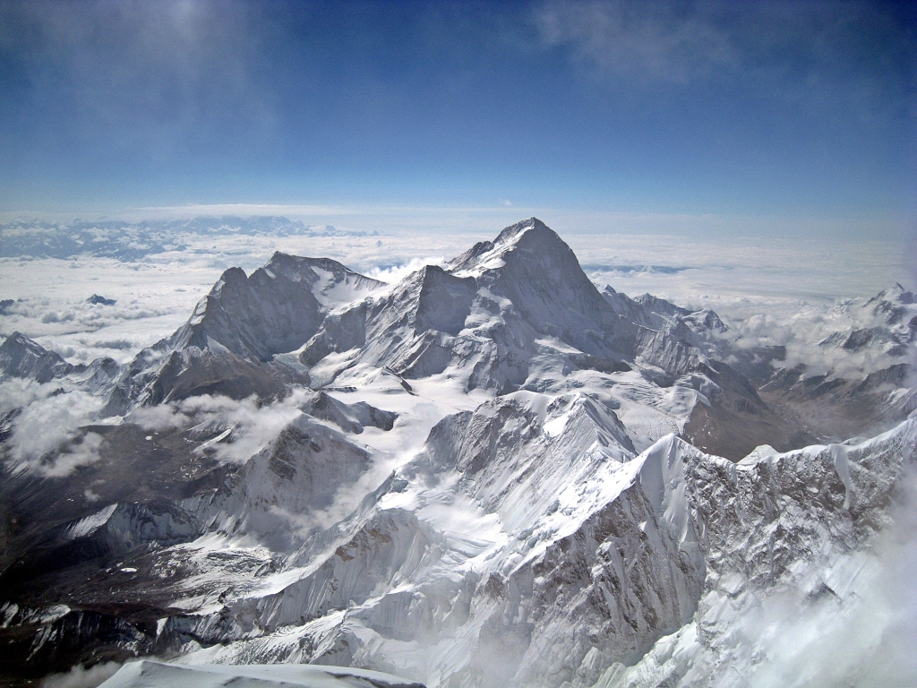 View of Makalu and curvature of the earth from Everest summit