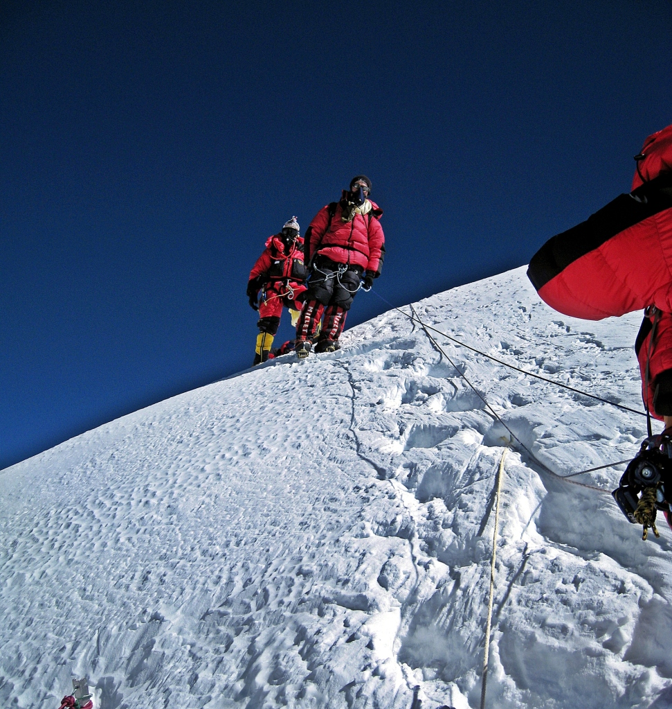 Descending from Everest summit