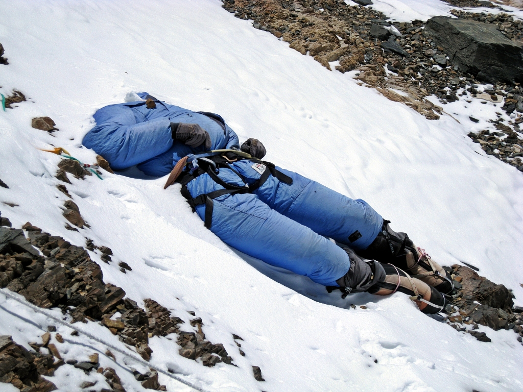 Deceased climber, Balcony, Everest