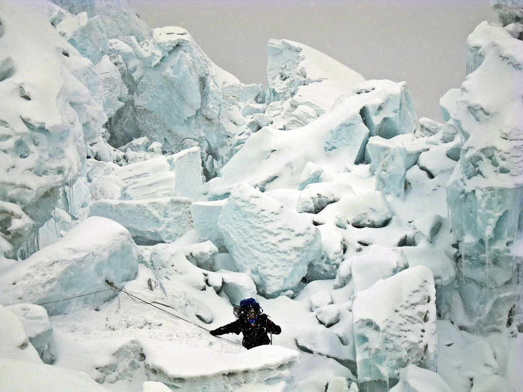 Khumbu Icefall during a snowstorm