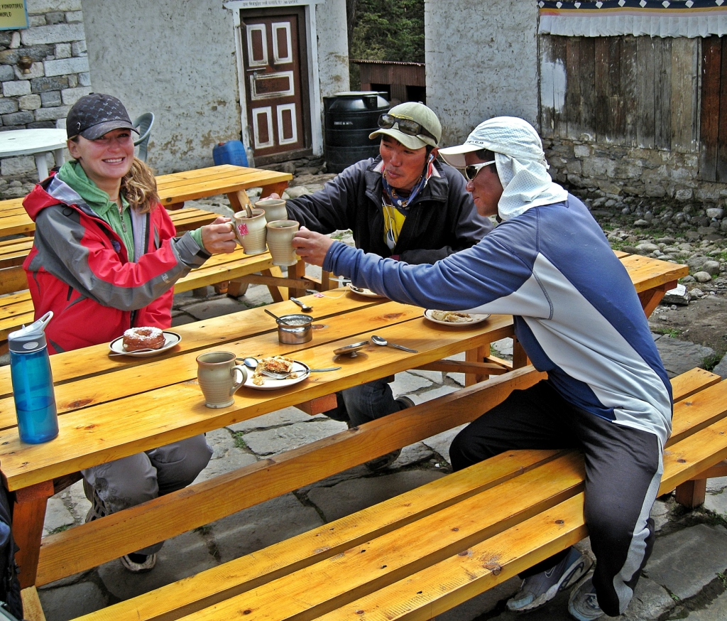 Celebrating at bakery, Tengboche