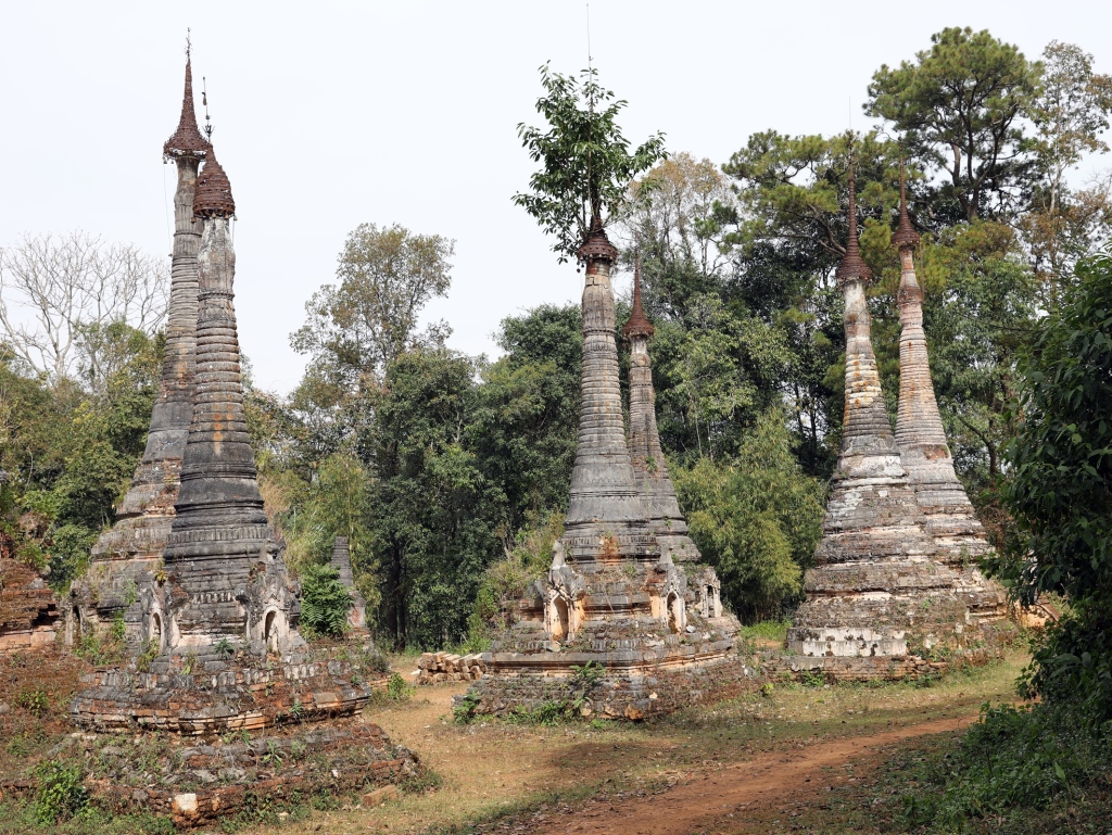 Buddhist stupas, Kalaw to Inle trek