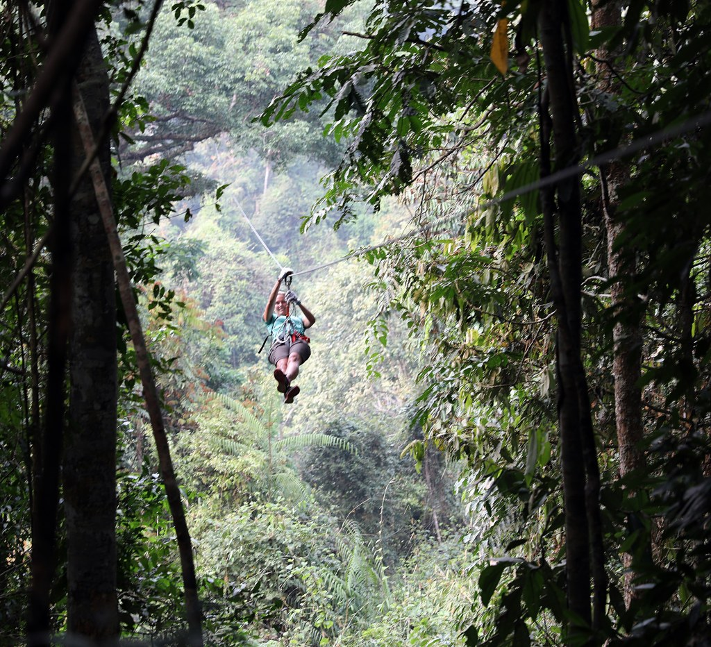 Maggie ziplining, Nam Kan National Park