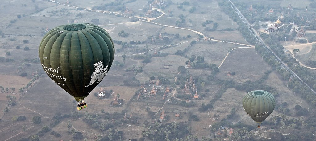 Hot air balloons over ancient temples in Bagan