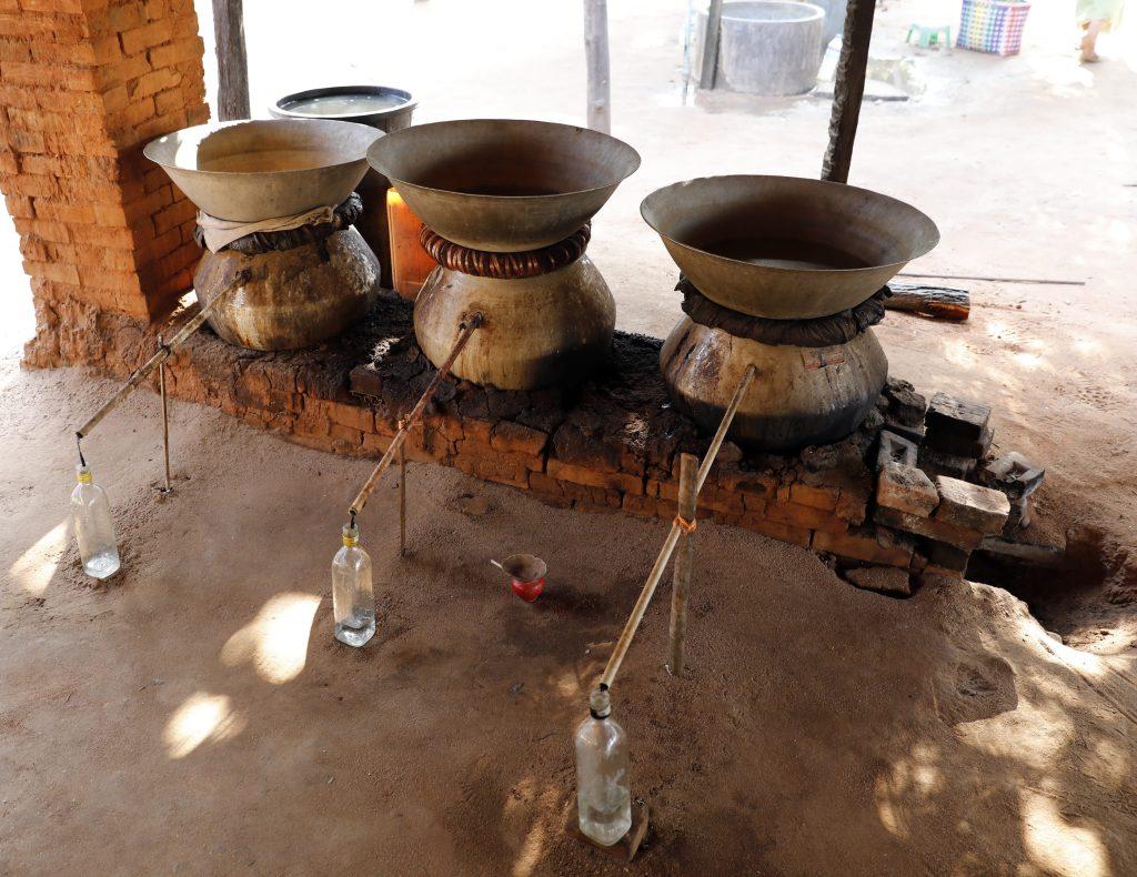 Palm sugar moonshine still, Myanmar