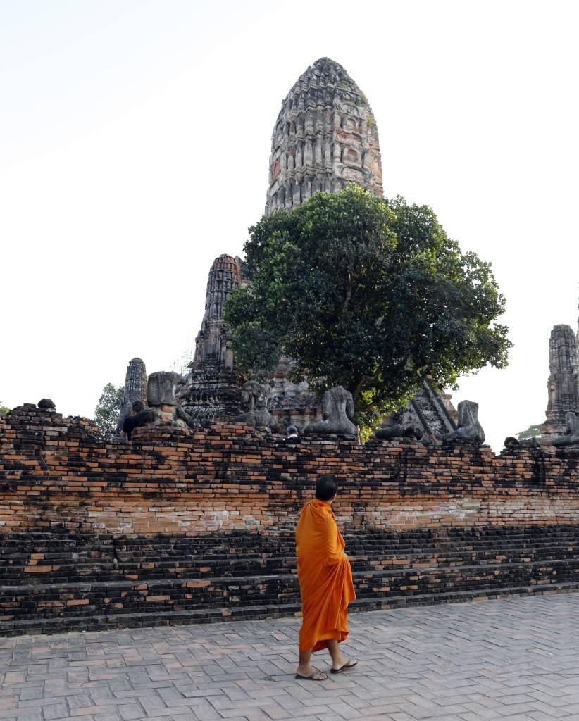 Monk at Wat Chaiwatthanaram, Ayutthaya
