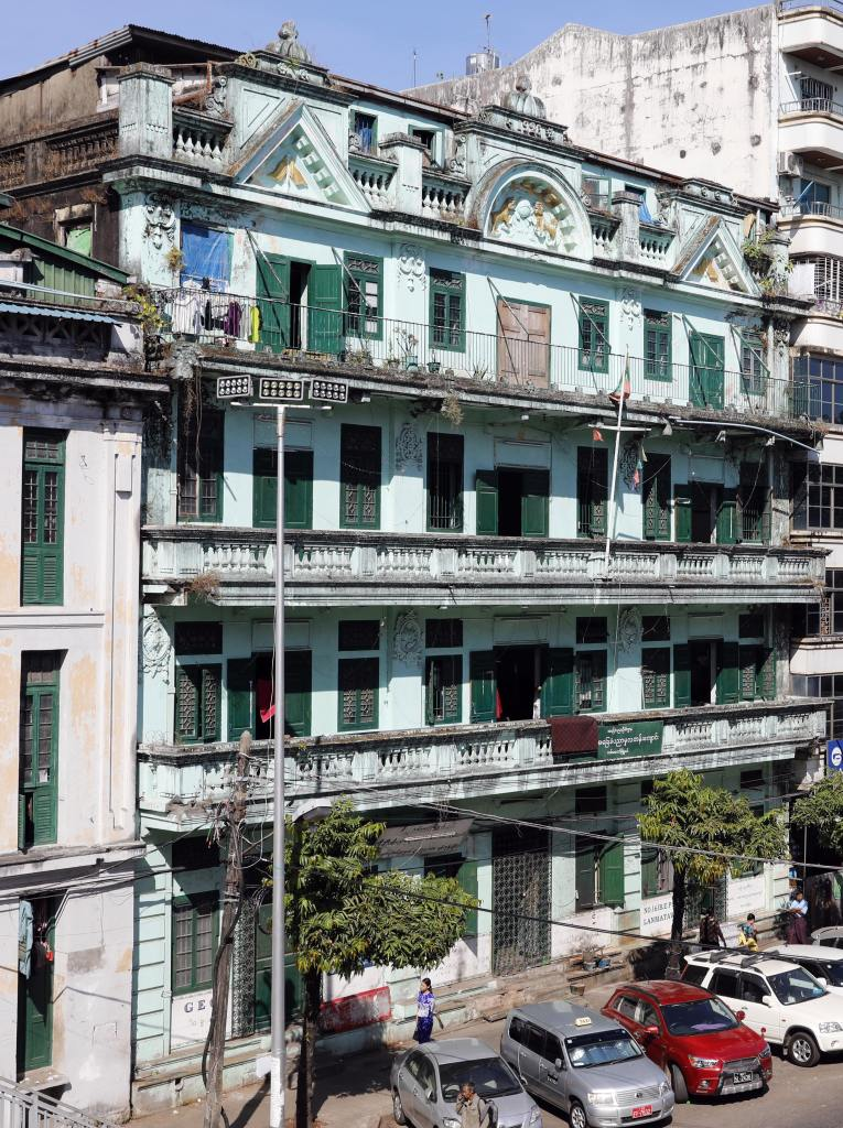 Rundown colonial building in Yangon
