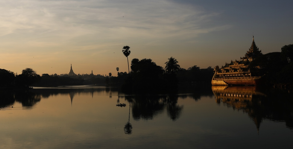Shwedagon reflecting at Kandawgyi Lake at sunset, Yangon