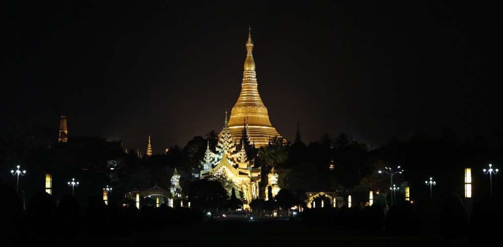 Shwedagon Pagoda at night, Yangon