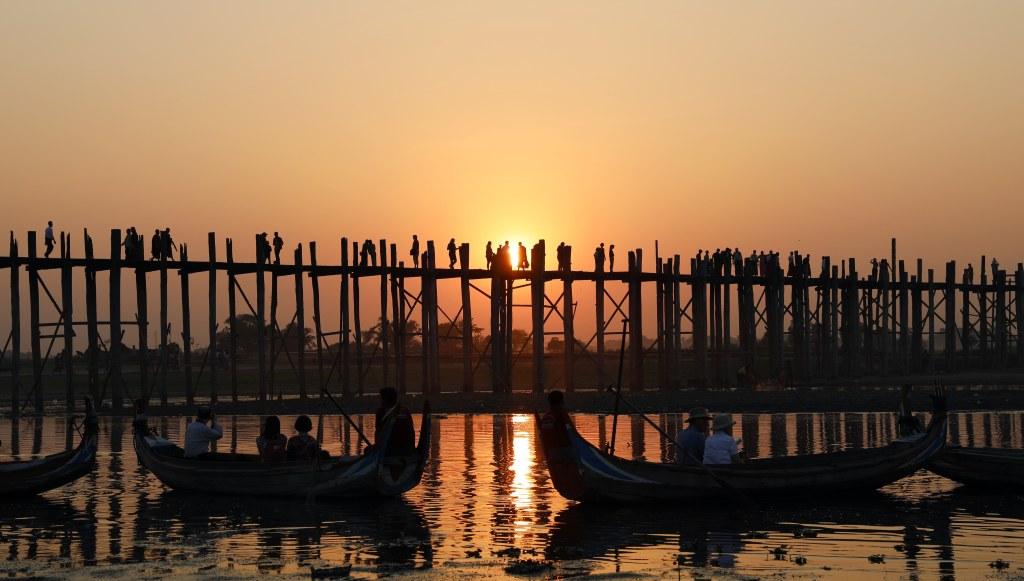 U-Bein Bridge at sunset, Amarapura